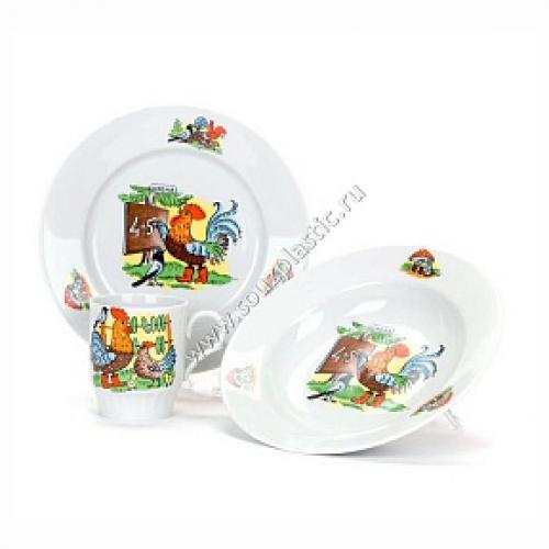 Набор посуды 3 пр.Школа И.У. (т.мел.200 мм| т.гл.200 мм| кр.210 мл) Русское поле ( 051762 ) 77-2752