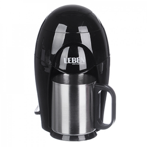 Кофеварка капельная, 400 Вт., на одну чашку, 150 мл, корпус пластик, отделка нерж LEBEN