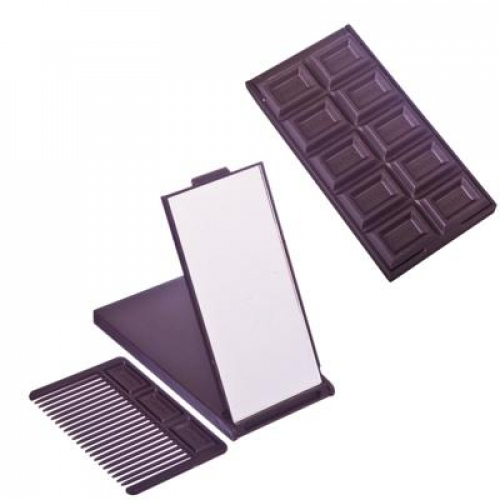 Зеркало складное с расческой «Шоколад«, 11,8х8,2х1см, пластик, 2-3 цвета