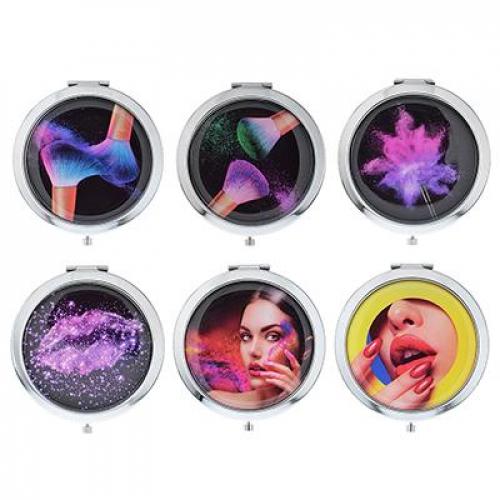 Зеркало карманное, металл, стекло, d7см, 4-20 дизайнов