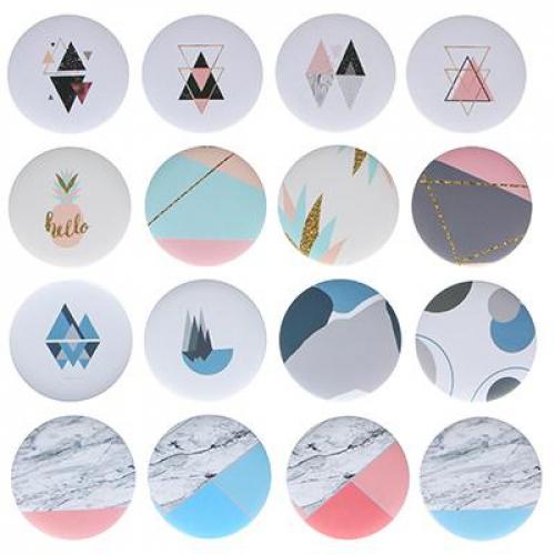 Зеркало карманное, d=7,4см, пластик, 3-16 дизайнов