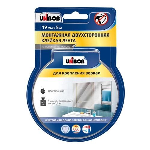 Клейкая лента двухсторонняя для зеркал 19мм х 5м белый пена UNIBOB ИУ (28) арт.54928 РСВ-161926