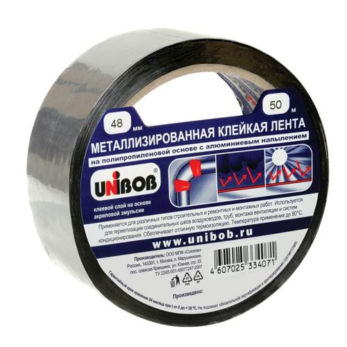 Клейкая лента металлизированная 48мм х 50м UNIBOB ИУ (36) арт.39117 РСВ-236620