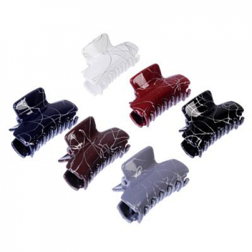 Заколка-краб для волос, металл, пластик, 5см, 6 цветов, 4426-9
