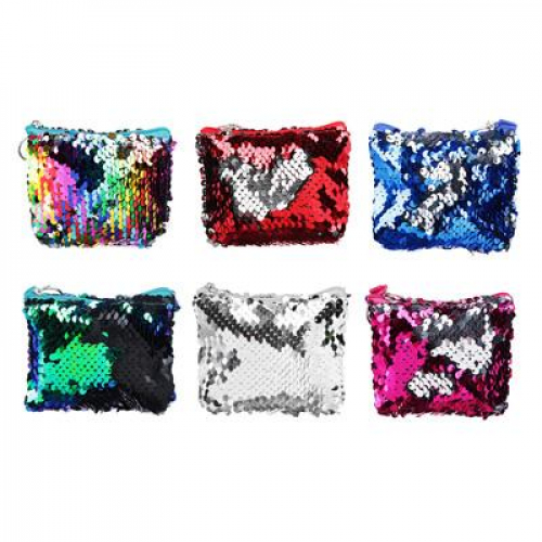 Сумочка для мелочи с пайетками, полиэстер, пластик, 11х8х3см, 6 цветов      PAVO