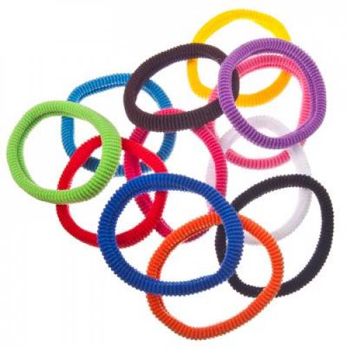 Набор резинок для волос 12шт, 5см, полиэстер, разноцветные