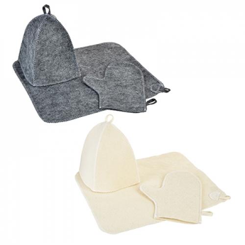 Набор банный 3 предмета(шапка б/выш.,варежка б/ выш.,коврик б/выш.)белый/серый, Шерсть-30%,ПЭ-70%