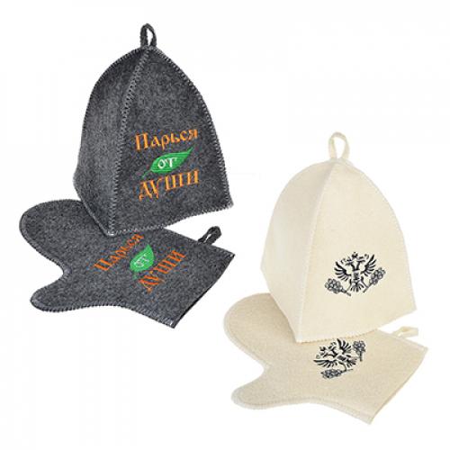 Набор банный с вышивкой, 2 пр: шапка, варежка, 30% шерсть,70% полиэфир, 2 цвета