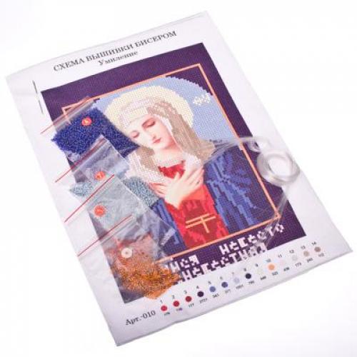 Набор для вышивки бисером 20х29см «Икона« (канва, бисер, игла), 4-10 дизайнов