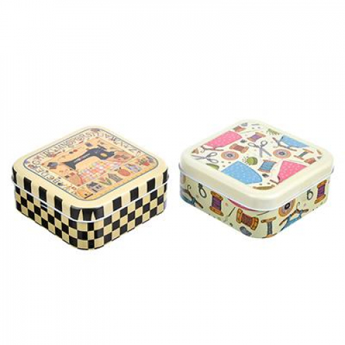 Набор швейных принадлежностей 5пр+нитки 20шт в металлической коробочке, 11х11х5,5см, 1-2 дизайна