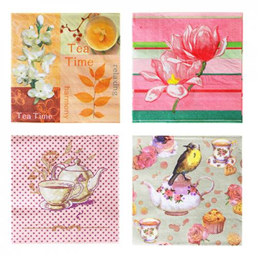 Салфетки бумажные 20шт, двухслойные, 33x33см «Цветочные мотивы«, 4 дизайна, Дизайны ГЦ