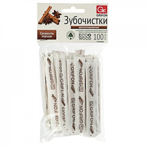 Зубочистки березовые с ароматом Корицы, 100 шт, в инд/бум/упак, 400-522 GRIFON