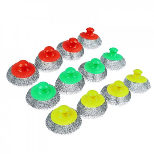 Набор губок 4шт кухонных, металл, пластик, 70гр, 3 цвета VETTA