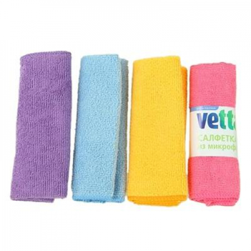 Набор салфеток из микрофибры, универсальные 4 шт, «Одноцвет«, 30x30см, 4 цвета VETTA