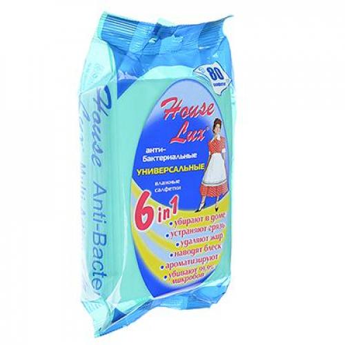 Салфетки влажные универсальные антибактериальные для уборки 6 в 1, 80шт House Lux