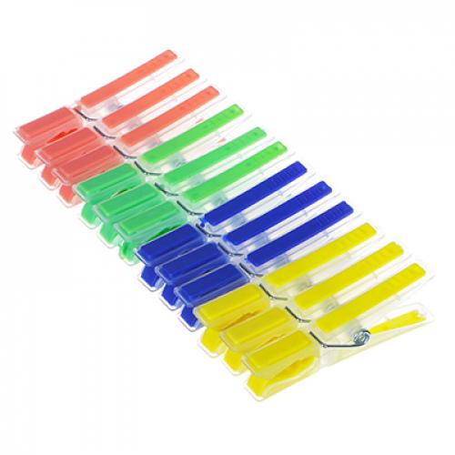 Набор прищепок 12шт, пластик, с силикон.держателями, «Квадрат«, 4 цвета, D0303 VETTA