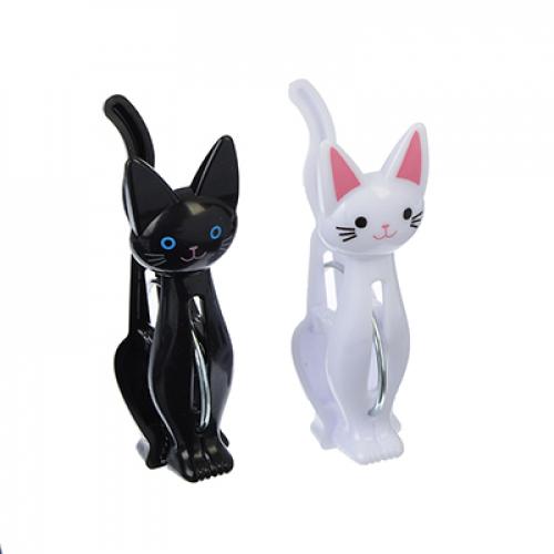 Набор прищепок 4шт, Кошки, пластик, 2 цвета