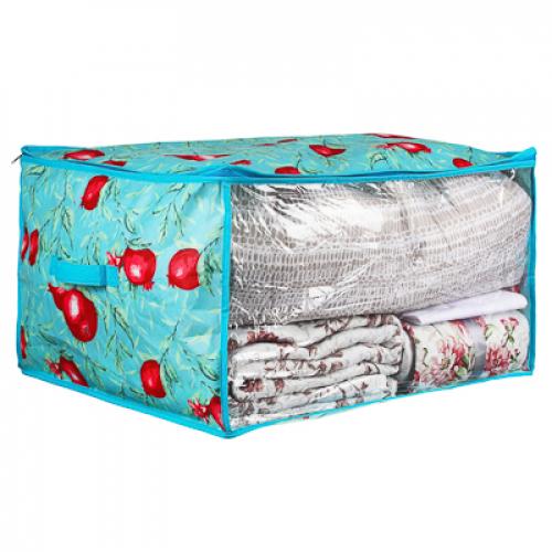 Кофр для подушек и одеял с прозрачным окном, 60х50х35см, спанбонд, ПЕВА VETTA Гранат