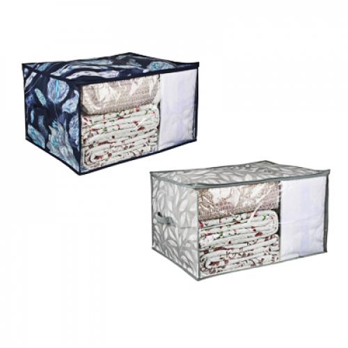 Кофр для подушек и одеял с прозрачным окном, 60х50х35см, спанбонд, ПЕВА, 2 дизайна VETTA Санремо