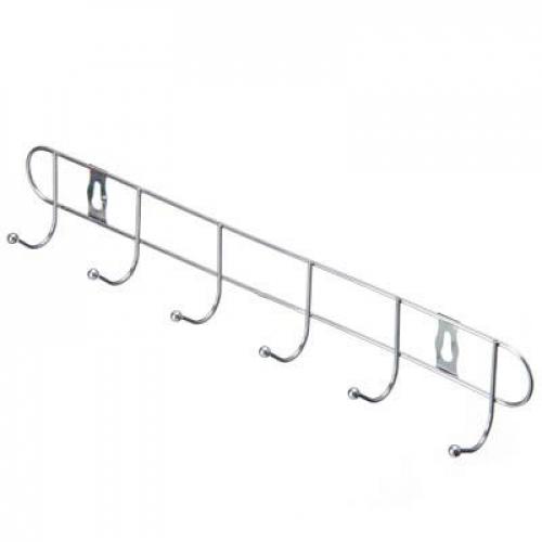 Вешалка настенная 6 крючков, эконом, металл, 32,5х5х3,5см