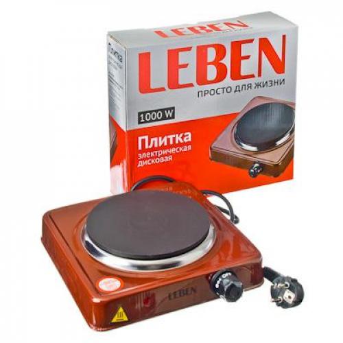 Плитка электрическая одноконфорочная 1000Вт нагр. эл. диск d15,5см LEBEN
