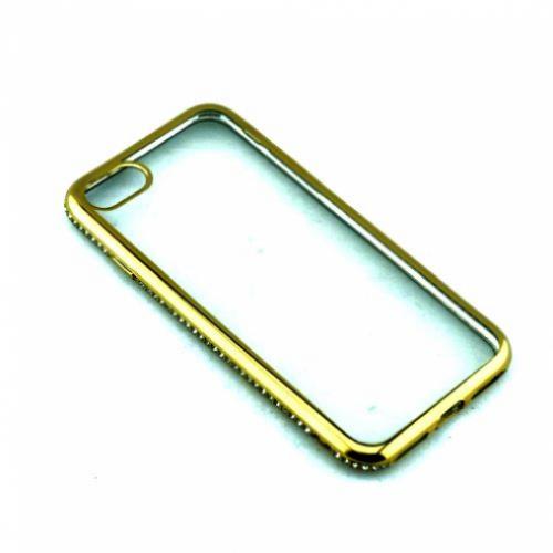 Накладка силиконовая со стразами золото для iPhone 7