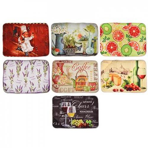 Коврик для сушки посуды микрофибра, 0,9см, 40x30см, 7 цветов