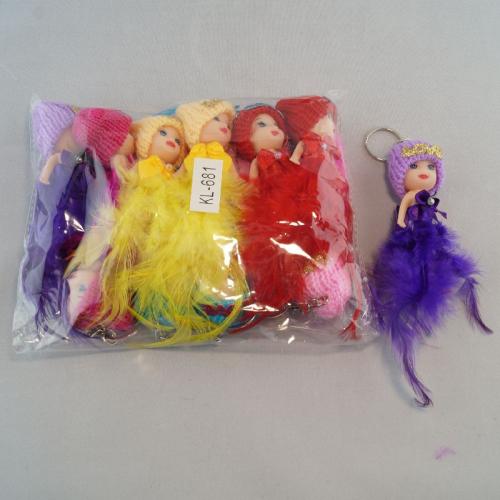 Брелок «Кукла юбка перья«