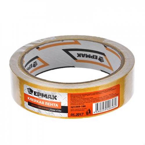 Клейкая лента двухсторонняя 25мм х 10м, (ткань осн., инд.упаковка) ЕРМАК