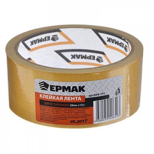 Клейкая лента двухсторонняя 38мм х 10м, (полипропилен, инд.упаковка) ЕРМАК
