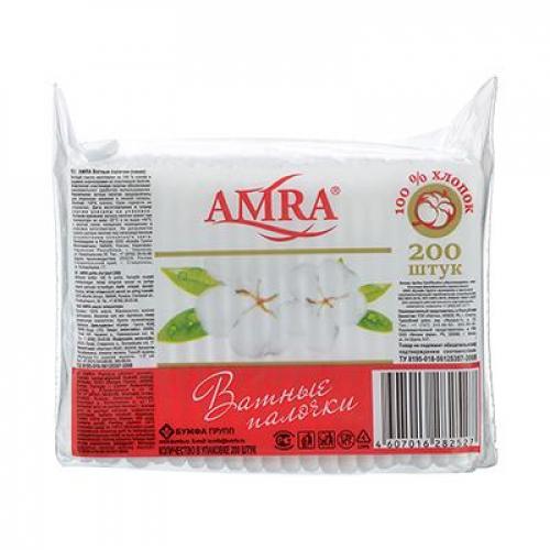 Ватные палочки AQUELLA/AURA/AMRA/FLIRT п/э пакет 200шт, Арт.0255 /06450/18338