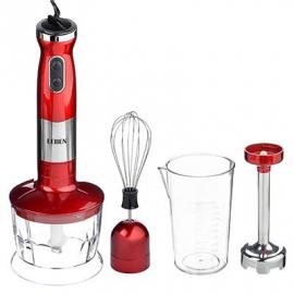 Блендер электрический 800Вт, стакан, чоппер, венчик, регулировка скорости, красный LEBEN