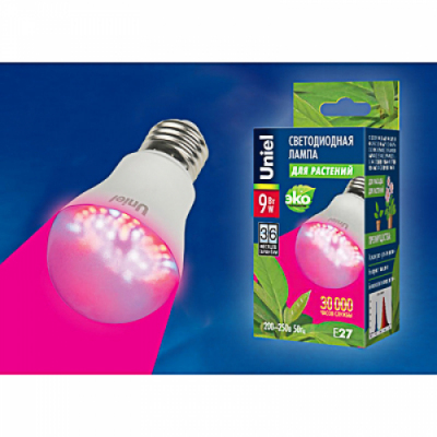 Лампа светодиодная для растений LED-A60-9W/SP/E27/CL ALM01WH