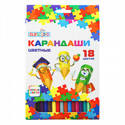 Карандаши 18 цветов шестигранные заточ., пластик, улучшенное письмо, в карт.коробке ClipStudio