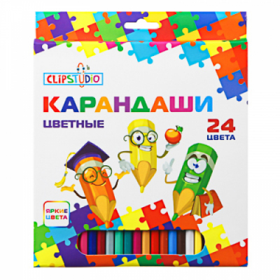 Карандаши 24 цвета шестигранные заточ., пластик, улучшенное письмо, в карт.коробке ClipStudio