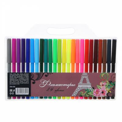 Фломастеры, 24 цвета, с цветным вентилируемым колпачком, в ПВХ пенале с подвесом Миракл Пэрис
